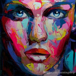 Handmade Modern Oil Painting Australia - Francoise Nielly Palette Knife Impression Home Artworks Modern Portrait Handmade Oil Painting on Canvas Concave and Convex Texture Face069