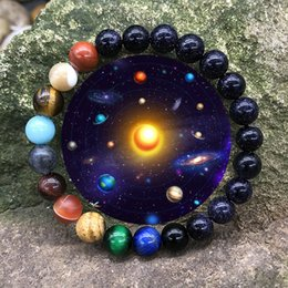 Wholesale Free DHL Christmas Gift Styles Natural Stone Eight Planets Bracelet Yoga Beads Charms Bracelets Men Women Beaded Bangle Jewelry M413F