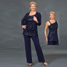 plus size mother groom pant suits UK - Sparkly Navy Blue Sequined Mother Of The Bride Pant Suits With Jackets Wedding Guest Dress Plus Size Three Pieces Mothers Groom Dresses