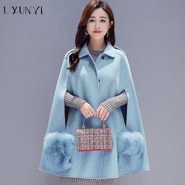 $enCountryForm.capitalKeyWord Australia - 2018 New Autumn Mid Wool Cape Coat Women Korean Style A Line Cloak Coats Fashion Turn Down Collar Abrigos Mujer Elegante Pink
