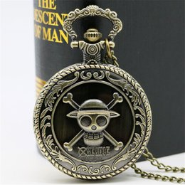 pirate pendants Australia - & Fob Watches Classic ONE PIECE Theme Pocket Watch Steampunk Bronze Pendant Clock Pirate Skull Pocket Watches Unique Best Gifts Drop ...