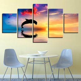 Oil painting dOlphins online shopping - Canvas HD Prints Pictures Living Room Wall Art Pieces Dolphins Swim Jump Paintings Home Decor Sunset Seascape Poster No Frame