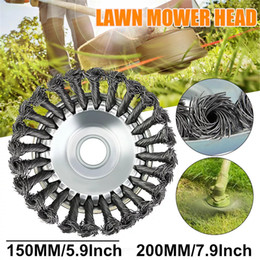 wheel trimmer UK - 6 or 8 Inch Steel Wire Wheel Brush High Carbon Steel ID 25mm Trimmer Head for Lawnmower - 6 Inch