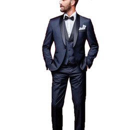 navy blue tuxedos for weddings UK - Italian One Button Man Wedding Suits 3 Pieces Slim Fit Jacket+Pants+Vest Navy Blue Custom Groom Tuxedo Suits for Wedding Prom Suit