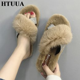 8e936ae3b HTUUA Crystal Cross Fluffy Fur Slippers Women Winter Slippers Flat Furry  Slides Indoor Floor Home Cozy Shoes SX1765