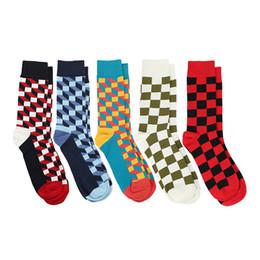Colorful Men Dress Australia - 2019 Combed Cotton Mens Socks Happy Compression Socks Colorful Diamond Funny Dress Socks Men