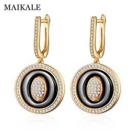 Zirconia ceramics online shopping - MAIKALE Luxury Korean Earrings Round Black Ceramic Earrings Cubic Zirconia Gold Silver Big Drop Earrings for Women Charm Gifts
