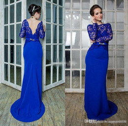 $enCountryForm.capitalKeyWord NZ - 2019 Elegant Royal Blue Lace Evening Dresses with Long Sleeves Backless Sweep Train Mermaid Formal Prom Party Gowns Cheap