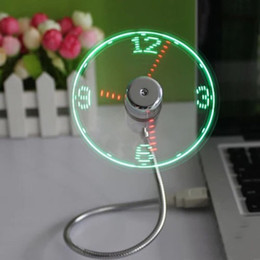 Gadgets For Office Australia - Adjustable Mini USB Fan portable Office Desk gadgets Flexible Gooseneck Time LED Clock Fan Cool For laptop PC Notebook real Time Display