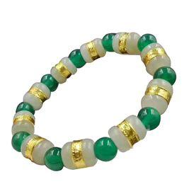 Fine Jewelry Jade Set Australia - Fine Jewelry Solid 999 24K Yellow Gold Hetian Jade Bead Bracelet Gifts Free Shipping