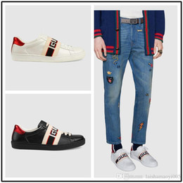 $enCountryForm.capitalKeyWord NZ - Top 2019 Men Brand Sneakers Shoes Designer Casual Shoes Black Genuine Leather Mens Sports Shoes With Bee Tiger Size 38-45 Orginal Box