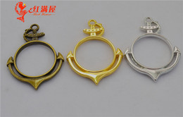 Silver Plated Frames Charms Wholesale Australia - 30pcs 32*43MM DIY jewelry antique bronze hollowed out anchor charms gold glue metal frame blank pendants hollow jewellery matertial ornament