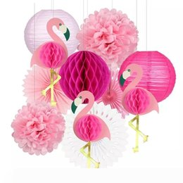honeycomb decorations wholesale UK - B Tropical Pink Flamingo Party Honeycomb Decoration Tissue Paper Fan Flowers Paper Lanterns for Hawaiian Summer Beach Luau Party