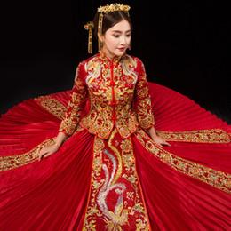 $enCountryForm.capitalKeyWord Australia - Long Sleeve Chinese Traditional Wedding Dress Women Phoenix Embroidery Cheongsam Red Qipao Evening Gown China Bride Traditions