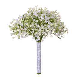 fake bridal bouquets UK - 2019 Artificial Flower White Gypsophila Bouquet Baby's Breath Fake Flowers Wedding Party Home Decoration Bridal Artificial Flower