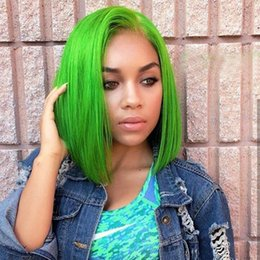 green lace wigs NZ - Colored Short Full Lace Human Hair Bob Wigs For Black Women Green Straight Bob Lace Front Wigs Pre Plucked Brazilian Virgin Hair