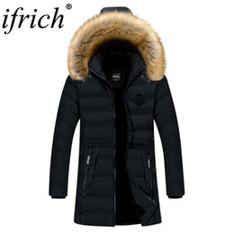 raccoon hooded parka UK - Jacket Men Winter Padded Parka Men Warm Coat Detachable Raccoon Fur Men's Long Parkas Thick Jackets Overcoat Ropa De Hombre 2019