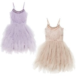 Silk pink baby dreSS online shopping - Girls Dress Camisole Running Silk Round Collar Children Feather Dress Princess Skirt Evening Costume Baby Dress
