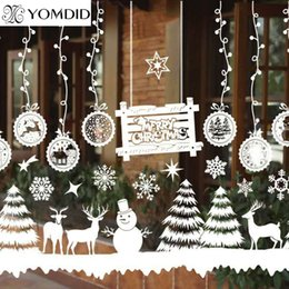 christmas bells window decorations UK - Merry Christmas Window Decorations Santa Claus Deer Snowman Snowflakes Bells Christmas Decals Ner Year Enfeites De Natal
