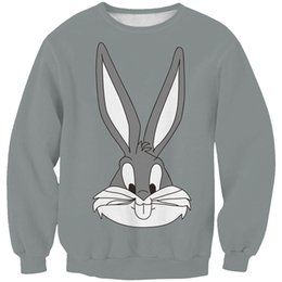 Cartoon Rabbit Hoodies Australia - Women Sweatshirt Cartoon Rabbit Bunny Gray 3D Printed Girl Free Size Stretchy Casual Hoodies Lady Long Sleeves Tops Sweatshirts (RSws0281)
