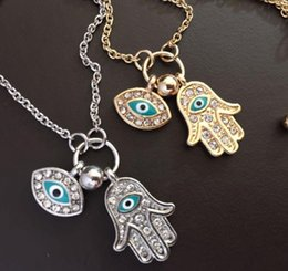 Wholesale New Blue Evil Eye Hamsa Fatima Palm Necklace lucky Turkish Kabbalah hand pendants for women Necklaces best friend Gift free ship