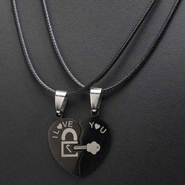 9fbe88a2d5 2Pcs Set Titanium Steel Puzzle Couple Necklaces Black Love Lock And Key Jigsaw  Heart Puzzle Pieces Charms Metal Necklace Jewelry