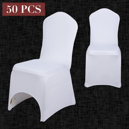 $enCountryForm.capitalKeyWord Australia - 50PCS Wholesale Universal White Chair Cover Spandex Elastic Lycra Hotel Banquet Party Wedding Chair Covers Decor Multi color