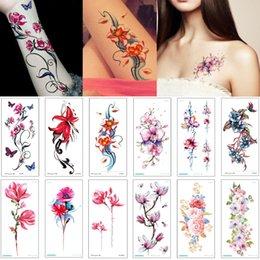 8df4ee2eb Fashion Peony Lotus Flower Tattoo Designs for Woman Man Arm Waist Chest  Wrist Jewelry Bracelet Temporary Body Art Tattoo Sticker Colorful 3D