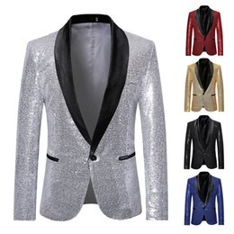 glitter costumes 2019 - MJARTORIA Shiny Gold Sequin Glitter Embellished Blazer Jacket Men Nightclub Prom Suit Blazer Men Costume Homme Stage Clo