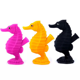 Smoking Water Bongs Pipes Australia - Multi color Seahorse pipe smoking herb bubbler bong mini silicone dab rigs dab straw oil burner glass water pipes oil rigs smoking