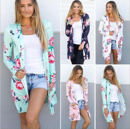 Wholesale Clothing For Women Sale Australia - Spring Women Floral Cardigan US Europe Style Top Casual Contrast Long Sleeves Thin Outwear Coat Top Clothing For Sales