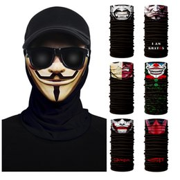 cycle bandana face mask Australia - 3D Seamless Bandana Skull Cycling Women Headwear Joker V Vendetta Face Mask Ski Hiking Magic Bandana Buff Balaclava 2019