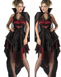 vampire costumes for women 2020 - Classic Vampire Costume Halloween Hen Party Gothic Bloody Countess Fancy Dress For Adult Women cheap vampire costumes fo
