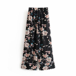 stylish trousers women 2019 - Vintage Chic Floral Print Wide Leg Pants Stylish Retro Women Loose Elastic Waist Long Trousers Casual Ladies Pantalones