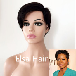 Hair Color For Short Hairstyles NZ - Short pixie cut Side part Little Lace Front Human Hair Wigs With Baby Hair Brazilian Remy Hair Bob Wig For Black Women Natural Color