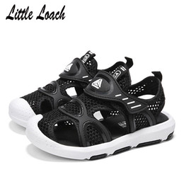 Sneakers Cut Out Australia - Children Summer New Sandals Mesh Cut-outs Boys Girls Closed Toe Beach Shoes Size 25-38 Breathable Casual Sneakers Red Blue Black Y190525