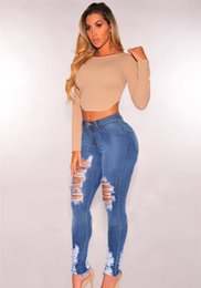 Girl jeans hiGh waist online shopping - Fashion Designer Women Washed Hole Jeans Casual Ripped High Waist Skinny Girls Slim Blue Womens Trousers