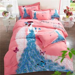 duvet sets peacock NZ - Bed Set Satin 100% Cotton Duvet Cover Sets Bohemian butterfly bird floral peacock Print Bedsheet Pillowcase Adult Double Bed King Size