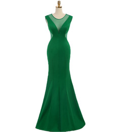 Sexy Apple Australia - Elegant Green Mermaid Evening Dresses 2019 Sleeveless Sheer Round Neck Prom Dress Floor Length Sexy Party Dress Special Occasion Dresses