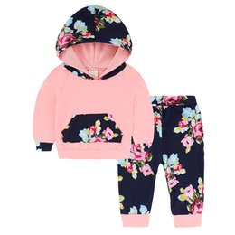 Baby Pink Tracksuit NZ - good quality 2019 Fashion Baby Girls Clothes Floral Tracksuit Pink Long Hooded Tops+Leggings Pants Cotton Toddler Newborn 2pcs Set