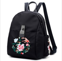 $enCountryForm.capitalKeyWord UK - Free shipping fashion embroidery peony flower backpack travel backpack women's designer national embroidery backpack Oxford cloth bag