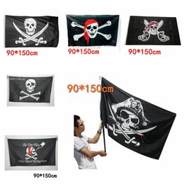 Ingrosso 90x150 cm Grande Nero Jolly Roger Bandiere Pirate Halloween Puntelli Skull Crossbones Spade Bandiere Nere Haunted House Bar Decor AAA729