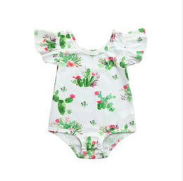 Playsuits romPers online shopping - Baby Girls Sleeveless Rompers Cactus Newborn Infant Button Jumpsuit Summer Playsuits O Neck Frills Sleveless Summer Jumpsuit Playsuit T