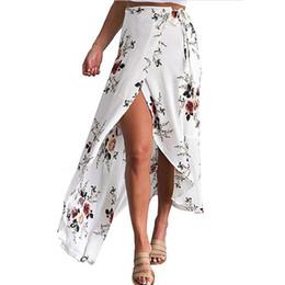 03b9253eb9 Feitong Women Irregular Long Skirt 2019 Summer Boho Vintage Floral Print  Side Slit Wrap Maxi Skirt Girl Waist Skirts female