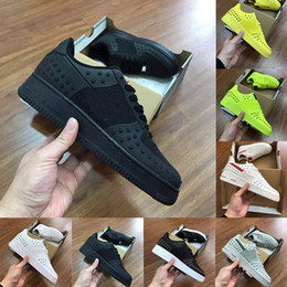 camel flat Australia - Vintage Forcing Dunk 1 Flats Sports Shoes One 1s KPU Triple Black Green Yellow Mens Casual Shoes Star Old Skool trainers Size 7-13 Sneakers