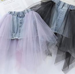 wholesale cowboy kids clothes 2019 - Girls denim skirt kids jean splicing irregular lace tulle skirt children princess clothes kids wash water cowboy elastic