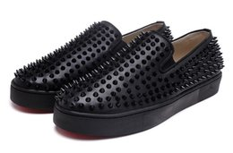 Wholesale Designs Fashion Spike Loafer Dress Shoes Red Bottom Sneaker Luxury Party Wedding Shoes Genuine Leather Spikes Lace up Casual Shoes