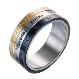 RotaRy Ring online shopping - Titanium Steel Colors Rotary Tricolor Calendar Ring Time To Time Turn Ring