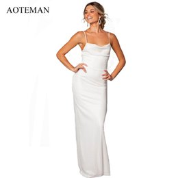 d39e830d46 AOTEMAN Summer Dress Women 2019 Sexy Bodycon V-Neck Bandge Backless Lace Party  Dresses Elegant White Wedding Maxi Dress Vestidos
