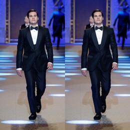 $enCountryForm.capitalKeyWord Australia - Navy Blue Groom Tuxedos Shawl Lapel Groomsmen Mens Wedding Dress Fashion Man Jacket Blazer 3 Piece Suit(Jacket+Pants+Vest+Tie)